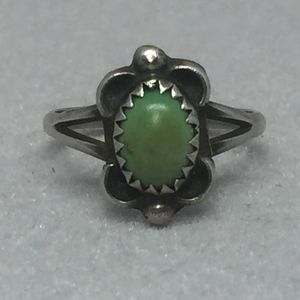 1960s  Navajo Sterling Lime Green Turquoise Ring